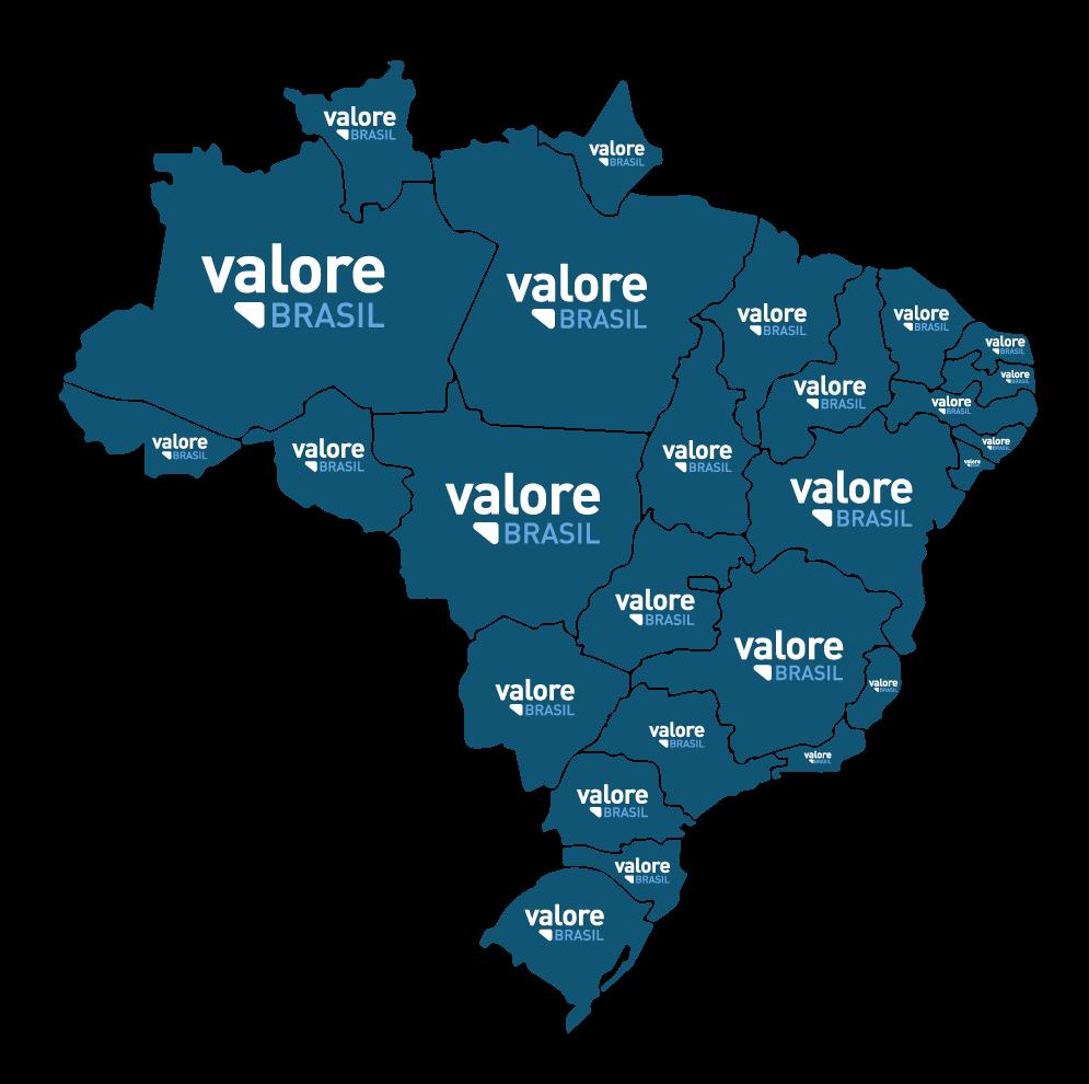 Mapa do Brasil Atuação Valore Brasil